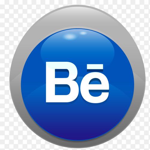 Logo Behance realistic button PNG