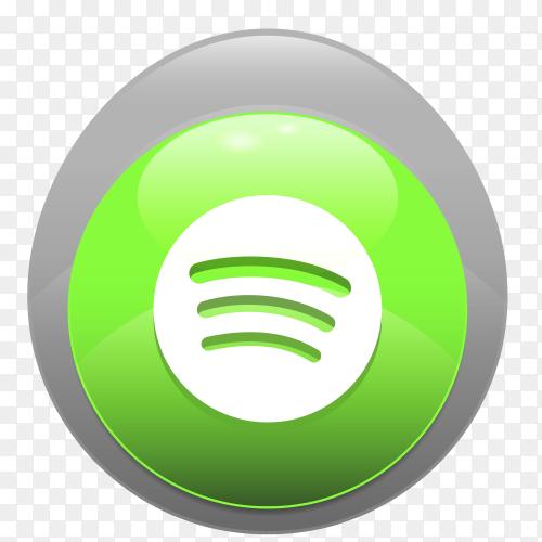 Logo Spotify realistic button PNG