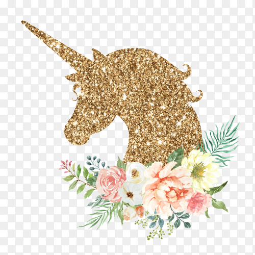 Luxury unicorn watercolor with flower bouquet PNG