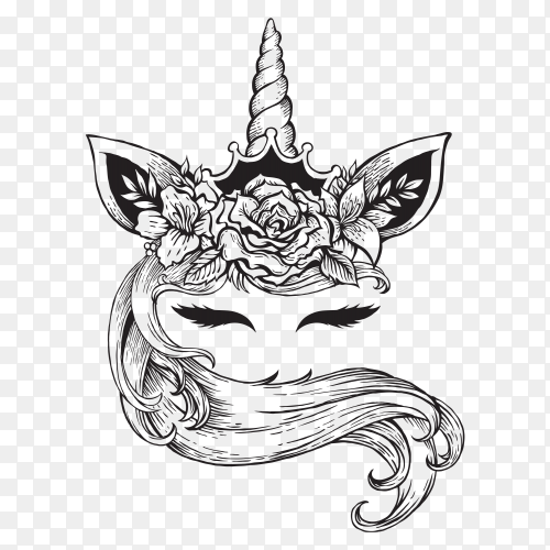 Magical unicorn tattoo Vector PNG