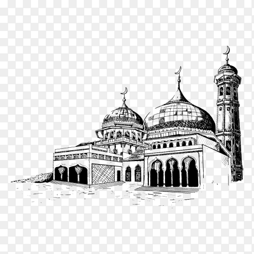 Mosque hand drawing PNG