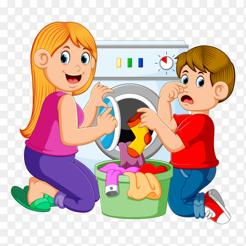 Mother and son doing laundry clipart PNG