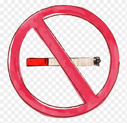 No smoking cigarette watercolor vector PNG