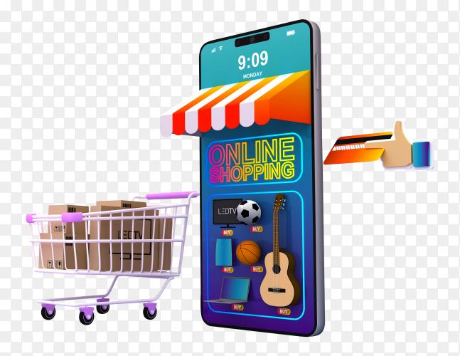 Online shopping 3d rendering illustration transparent background PNG