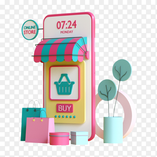 Online store on mobile application – Premium image PNG