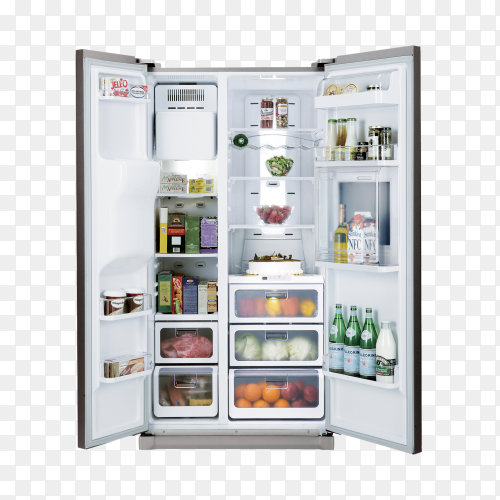 Open Refrigerator full of food PNG