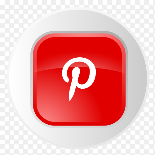 Pinterest logo button in gray circle PNG