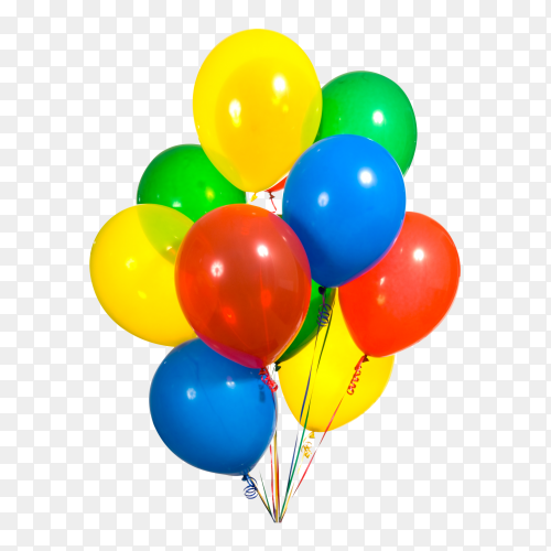 Primary color balloons arranged in a bouquet for a birthday party PNG