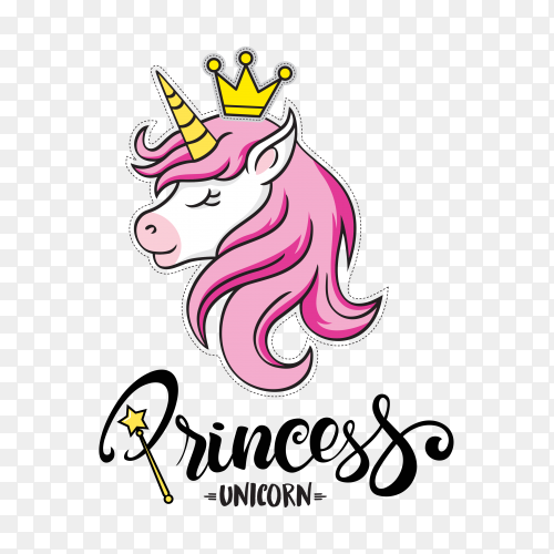 Princess cute unicorn with crown PNG