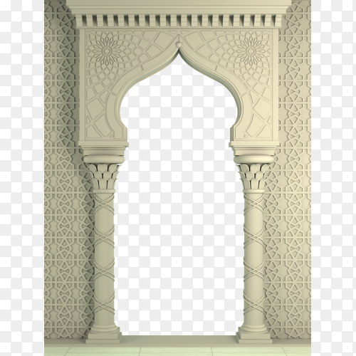 Qibla Mosque – carved architecture and classic columns PNG