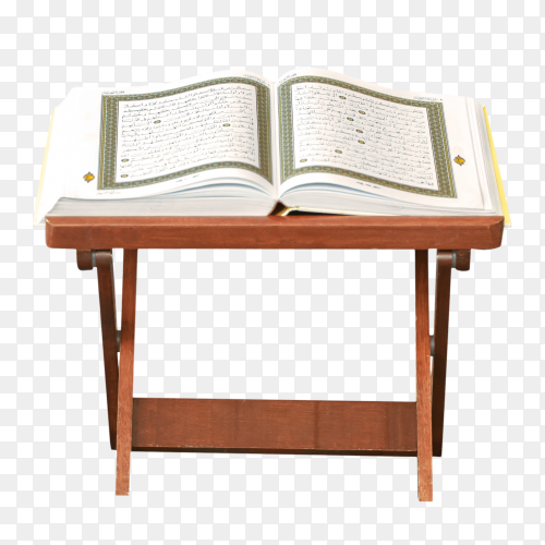 Quran – holy book of Muslims on a wood stand PNG