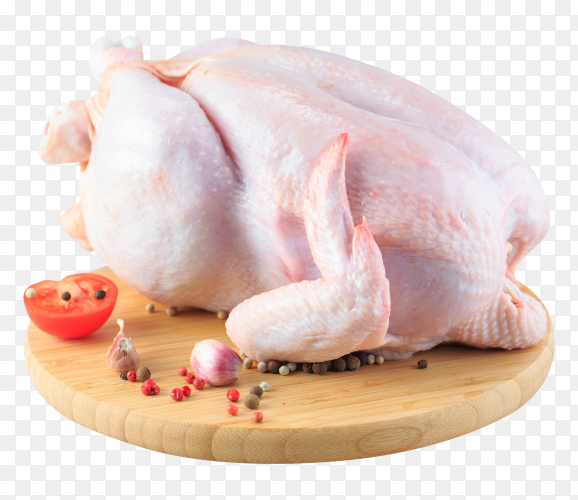 Raw chicken carcass on the cutting board PNG