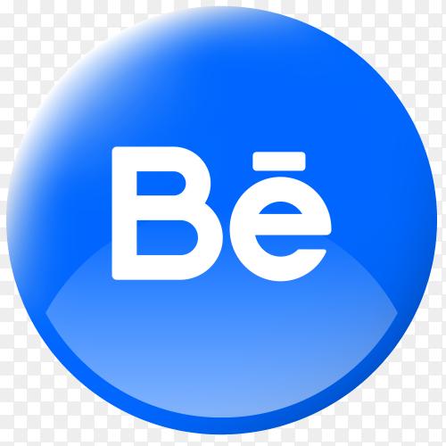 Realistic button Behance logo Transparent PNG