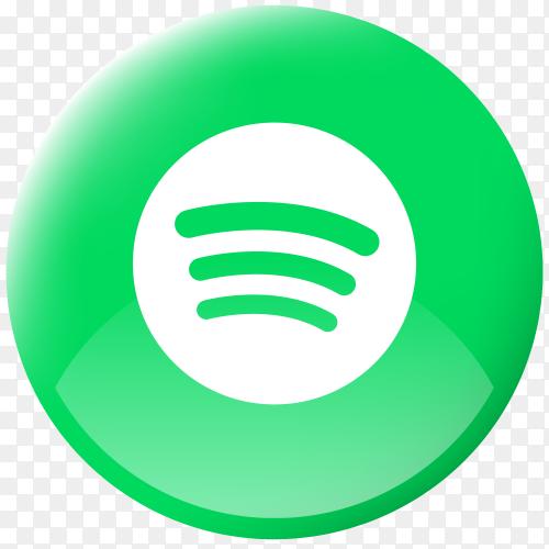 Realistic button Spotify logo Transparent PNG