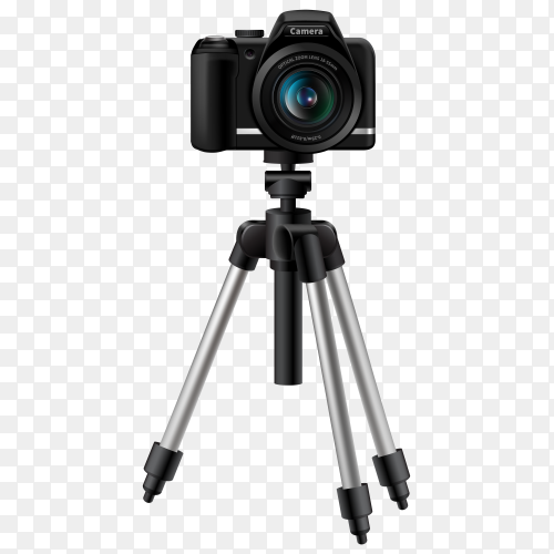 Realistic digital camera on tripod vector PNG
