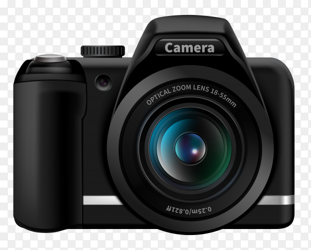 Realistic digital camera vector PNG
