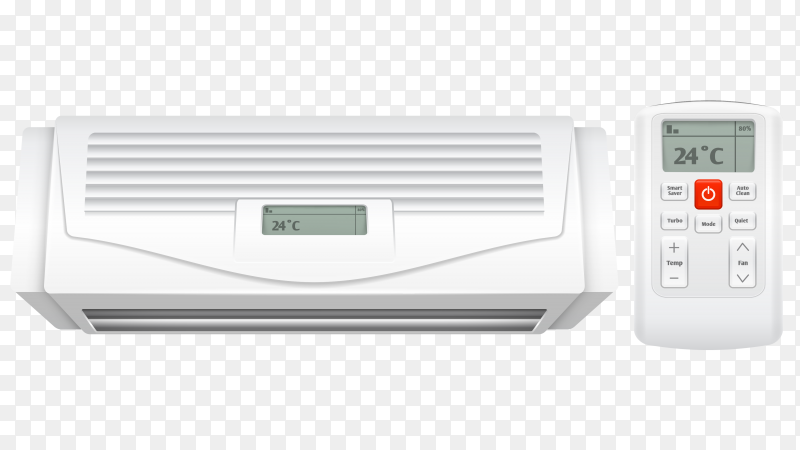 Realistic white air conditioner with remote control vector PNG