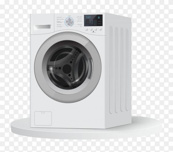 Realistic white washing machine on round white podium vector PNG