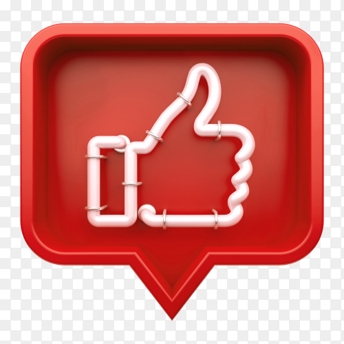 Red Neon Like button transparent PNG
