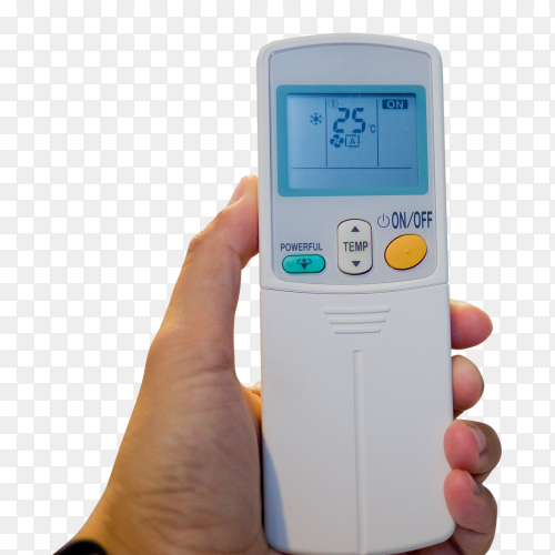 Remote control air condition on hand PNG