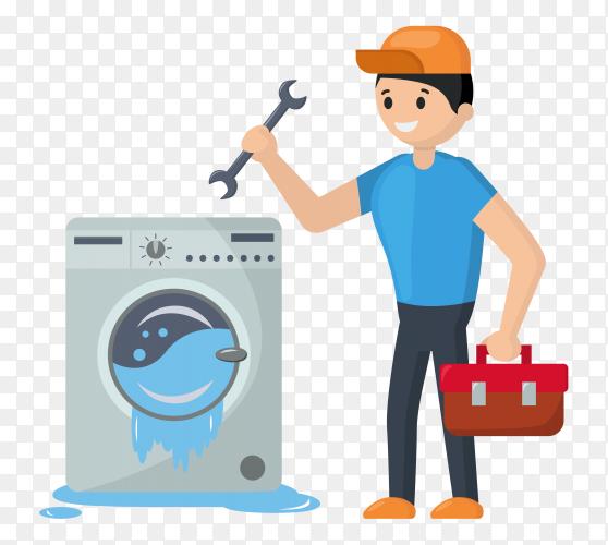 Repairman repairing the washing machine that is flowing vector PNG