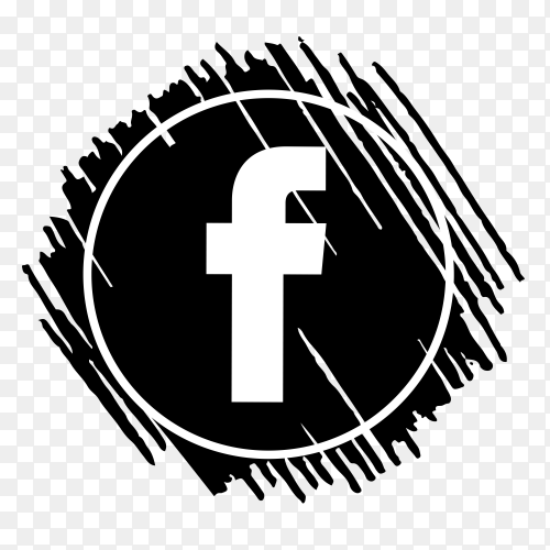 Scribble Facebook logo black PNG