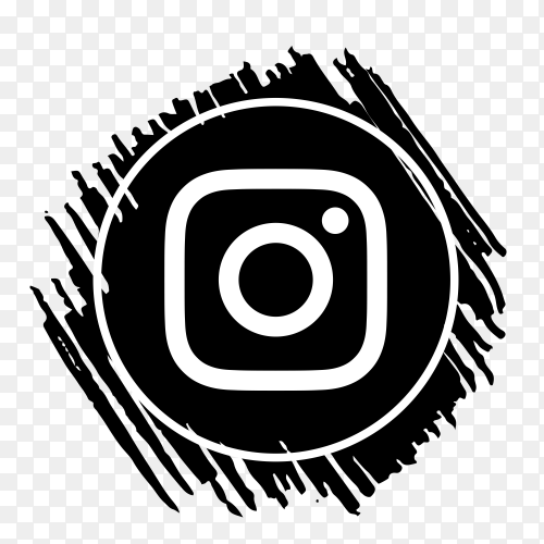 Scribble Instagram logo black PNG