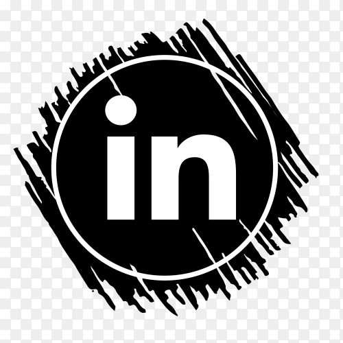 Scribble Linkedin logo black PNG