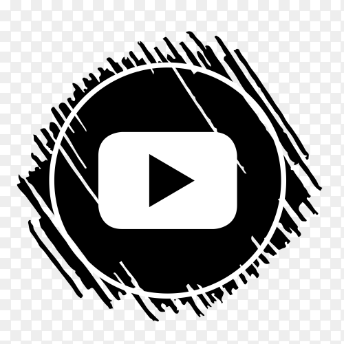 Scribble YouTube logo black PNG