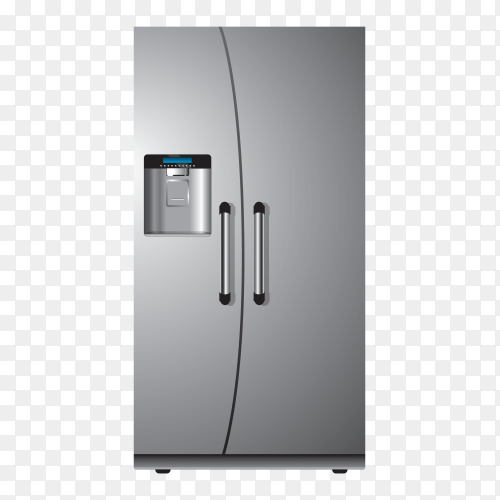 Silver refrigerator – fridge clipart PNG