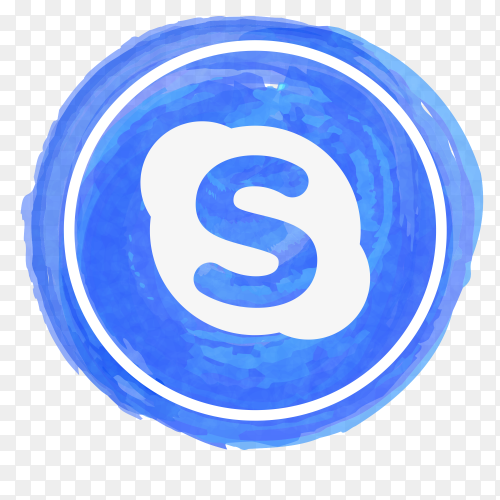 Skype icon watercolor PNG