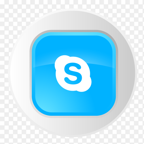 Skype logo button in gray circle PNG