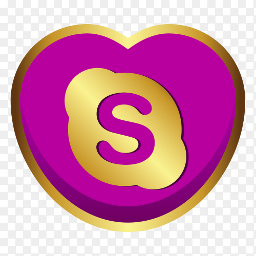 Skype logo golden heart social media PNG