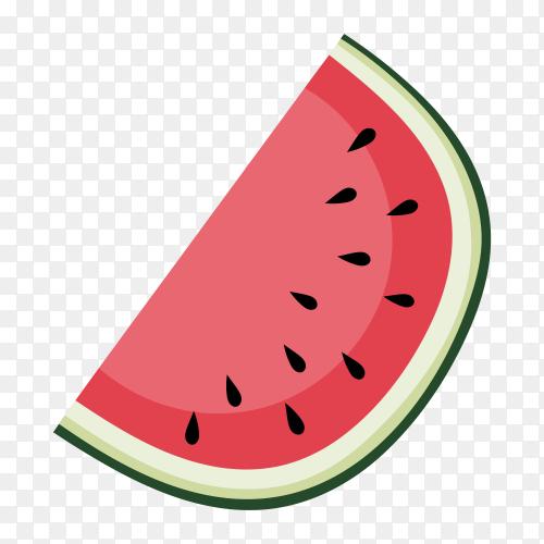 Slice watermelon transparent Vector PNG
