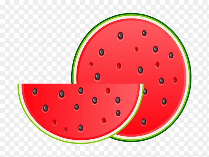 Slice watermelon. fruit illustration for farm market menu vector PNG
