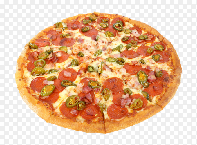 Sliced delicious fresh pizza with cheese and tomato PNG