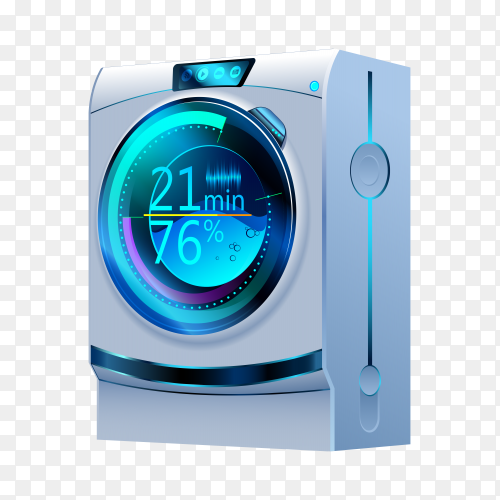Smart washing machine vector PNG