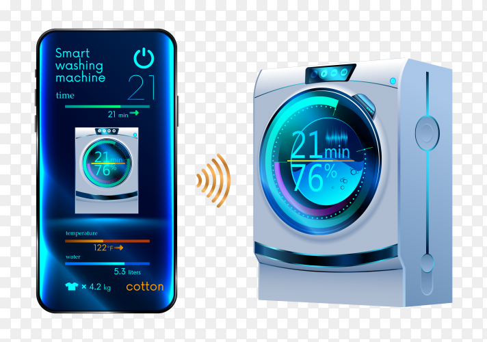 Smartphone controls smart washing machine clipart PNG