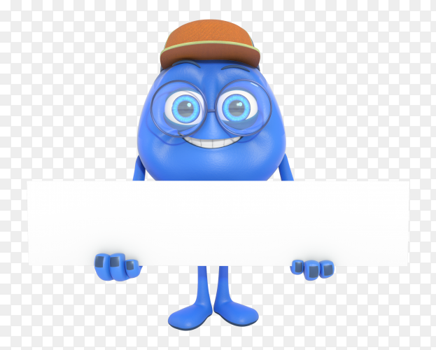 Smiling 3d Character Mascot Holding White Banner Png Similar Png
