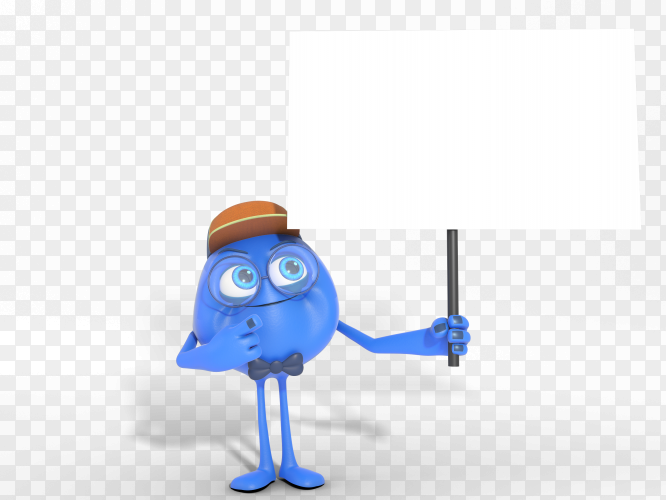 Smiling 3D character mascot holding white banner transparent PNG