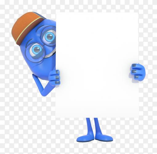 Smiling 3D character mascot illustration holding white banner PNG