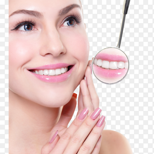 Smiling woman face with health teeth transparent PNG