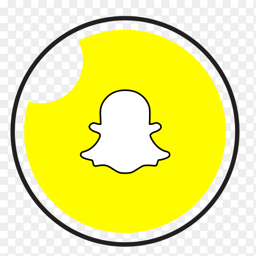 Snapchat logo in a circle with black frame PNG