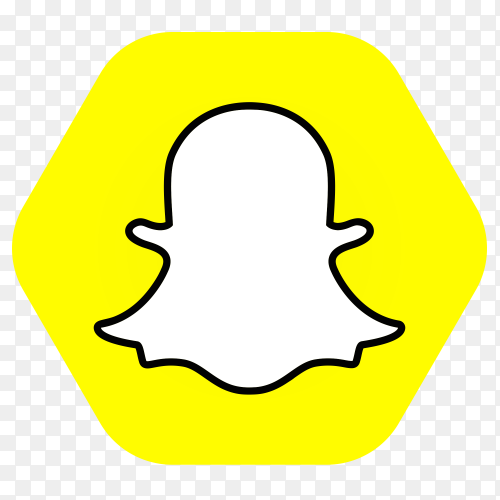 Snapchat logo in hexagon PNG