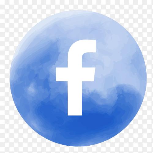 Soft watercolor Facebook logo PNG