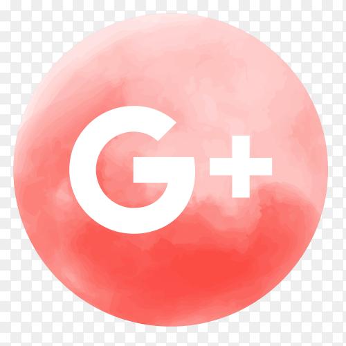Soft watercolor GooglePlus logo PNG