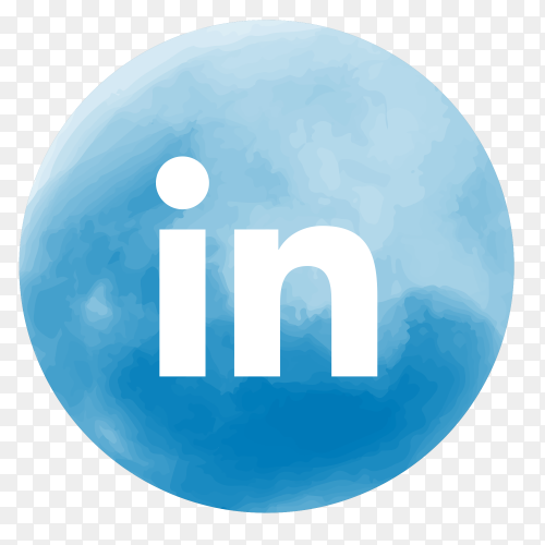Soft watercolor Linkedin logo PNG