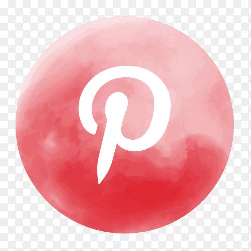 Soft watercolor Pinterest logo PNG