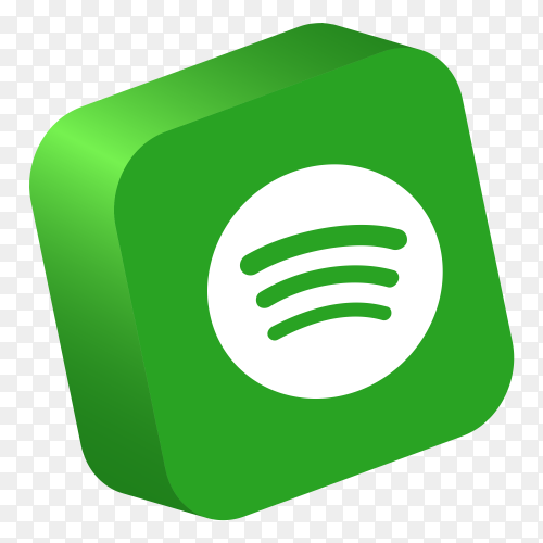 Spotify logo 3D button social media PNG
