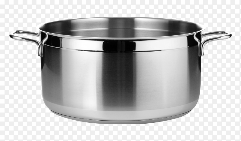 Stainless steel pot isolated on transparent PNG